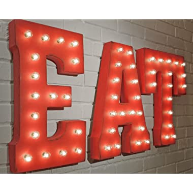EAT - (red) Large 21  tall Metal Rustic Nostalgic Industrial Vintage Inspired Marquee Sign Letter Light