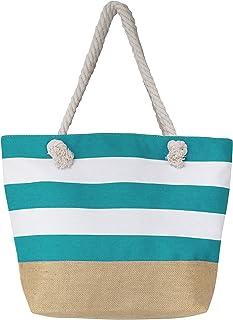 "Leisureland Canvas Tote Beach Bag, Water Resistant Shoulder Tote Bag (L20""xH15""xW6"", Stripe Blue)"