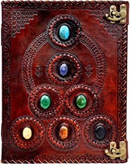Handmade Brown Leather Seven Stone Hill Embossed Blank Journal Book of Shadows  Notebook Office Diary   College Book   Poe...