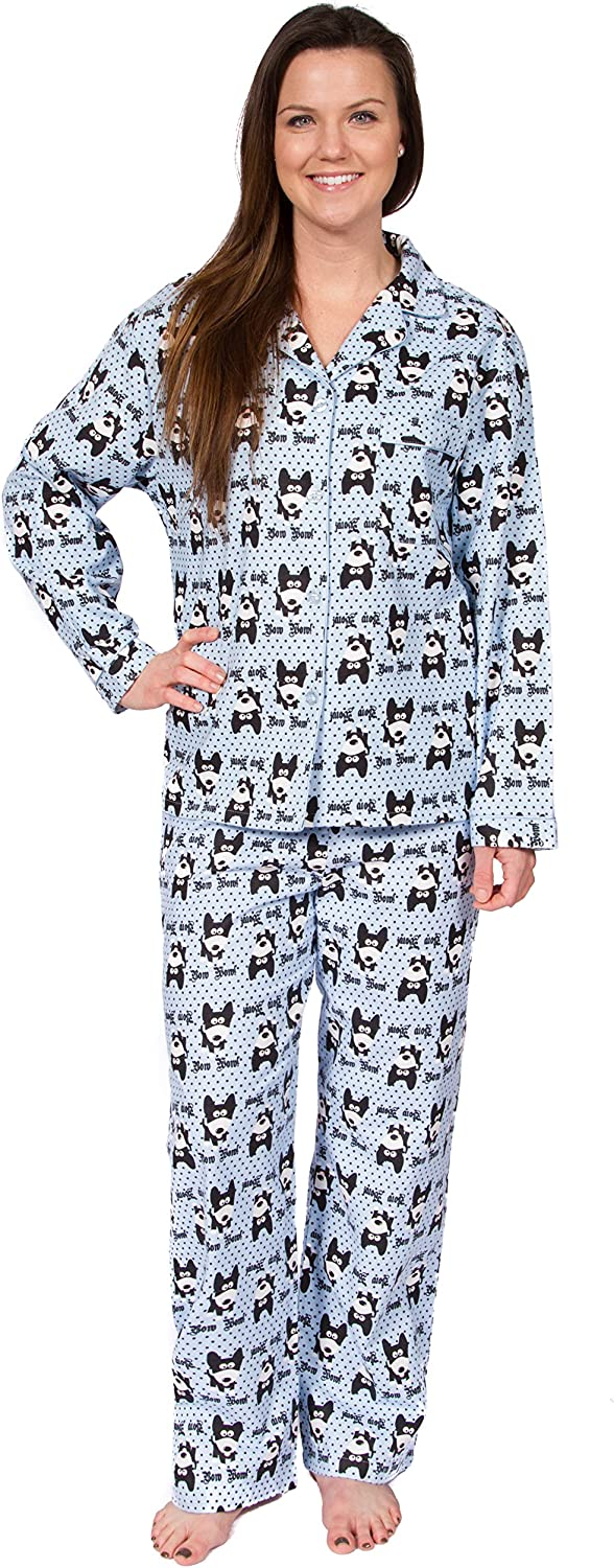 Leisureland Women's Cotton Flannel Sleep Pajama Sets Bow Wow  Dog Design