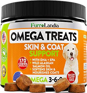 FurroLandia Omega 3 for Dogs - Allergy & Itch Relief Dog Shedding - Wild Alaskan Salmon Oil with Omega 3 6 9 for Dogs - EP...