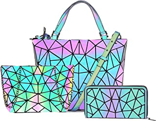 Hot One Cambios De Color Monederos y Bolsos Luminosos Geométricos Monedero Holográfico Monedero Reflectante Mochilas De Moda
