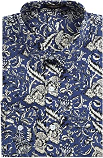 Mens 100% Cotton Stylish Paisley Floral Unique Printed Long Sleeve Shirts Casual Button Down Dress Shirts