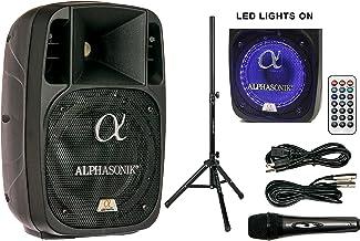 "Alphasonik 8"" Powered 1200W PRO DJ Amplified Loud Speaker Bluetooth USB SD Card AUX MP3 FM Radio PA System LED Ring Karaoke Mic Main Monitor, Band Church, Party, Guitar Amp, Home, BBQ w/ Tripod Stand"