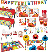 Party City 1st Birthday Elmo Deluxe Party Kit for 32 Guests, Includes High Chair Decorating Kit, Candle and More
