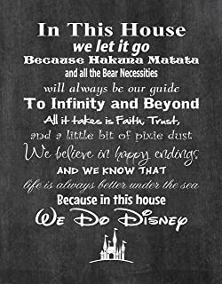 Simply Remarkable in This House We Do Disney - Poster Print Photo Quality - Made in USA - Disney Family House Rules - Ready to Frame - Frame not Included (8x10, Chalkboard Background)