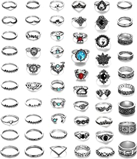 LOYALLOOK 84-130Pcs Midi Ring Bohemian Knuckle Ring Sets Fashion Finger Vintage Silver Stackable Rings for Women Girls Knu...