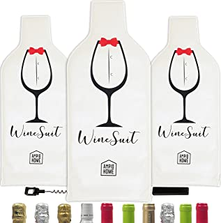 3 Pack Wine Bottle Protector Travel Bag | Reusable Wine Sleeve Bag | Pack in Luggage  Suitcase for Airplane | Protective Inner Skin Tough Leak Proof | Bonus Travel Corkscrew | Wine Accessory