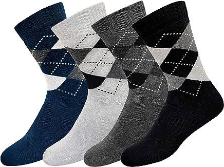 ARKYLE Men's Cotton Full Length Cushion Socks (Multicoloured, Free Size), Pack of 4