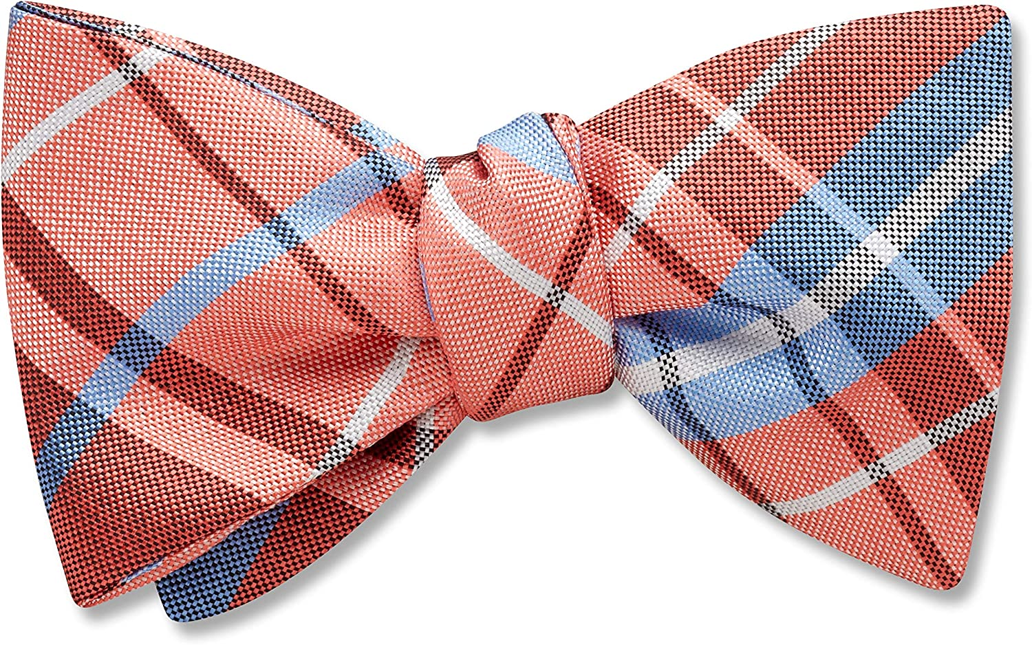 Mansfield Coral Orange,Pink Plaid, Men's Bow Tie, Handmade in the USA