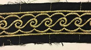 Goldstickerei auf schwarzem Rand, 3,8 cm breit, mit Gürtelbesatz, Hutverzierung, Millinery Trim