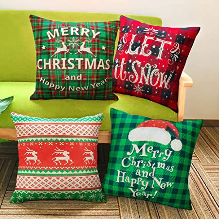 Christmas Pillow Covers 4 Pack Bpfy Print Snowman Christmas Tree Christmas Deer Santa Claus Merry Christmas Decorative Sofa Throw Pillow Case Cushion Covers 18 X 18 Inch Cotton Linen Home Kitchen