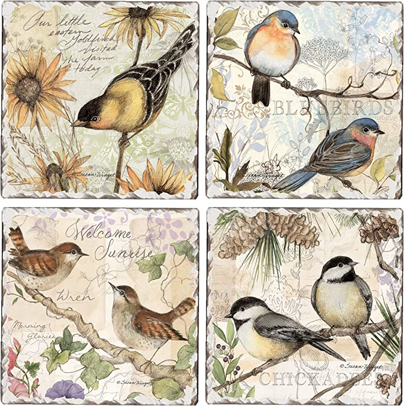 CounterArt Set Of 4 Assorted Tumbled Tile Coasters Birds On Branches