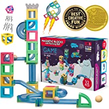Hippococo Magnetic 3D Building Blocks with Marble Run Game: New Innovative STEM Educational Toy for Boys/Girls, Durable, Sturdy & Safe Construction Set, Promote Kids Creativity & Imagination (32 PCS)