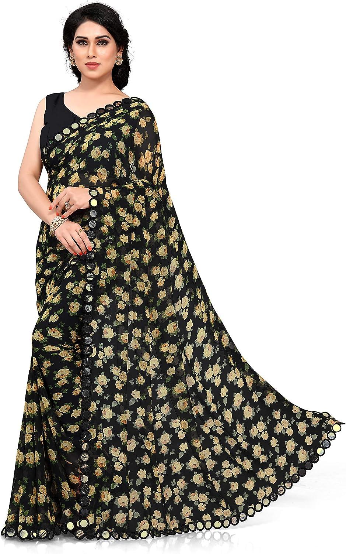 Designer Saree Indian Womens Digital Floral Print Sari Multi Color Fancy Border