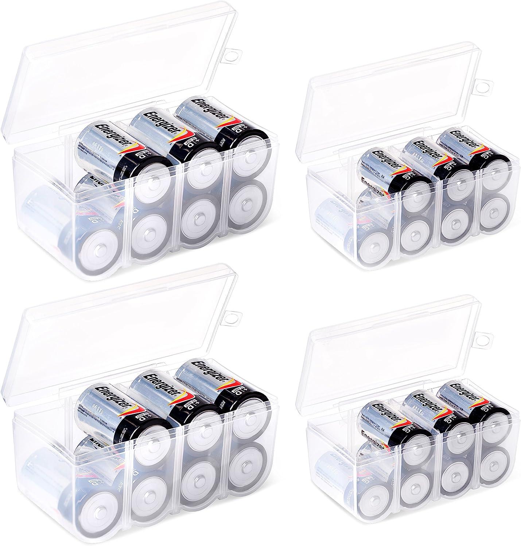Glossyend Set Mit 4 Teilen Zwei Aa Und Zwei Aaa Batterien Aufbewahrungsbox Batterieaufbewahrung Batteriehalter Transparent Küche Haushalt