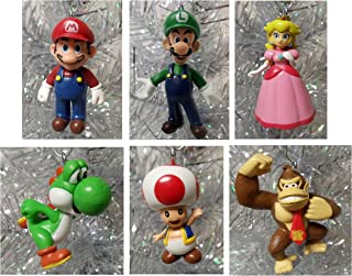 Super Mario Brothers 6 Piece Christmas Holiday Ornament Set Featuring Mario, Luigi, Donkey Kong, Yoshi, Toad and Princess Peach - Shatterproof Ornaments Range From 1.5