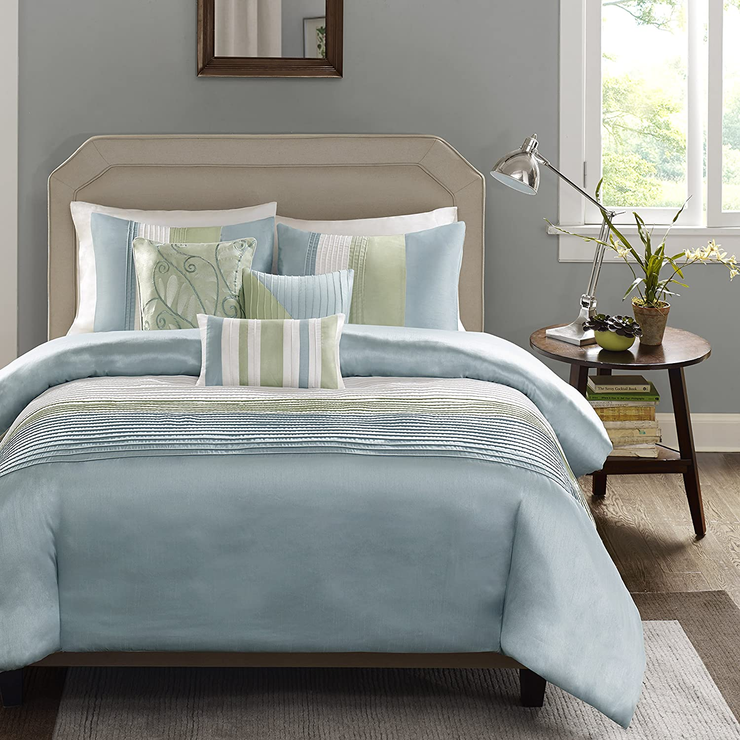 Madison Park Amherst Duvet Cover King Cal King Size - Green, Aqua, White , Pieced Stripes Duvet Cover Set – 6 Piece – Ultra Soft Microfiber Light Weight Bed Comforter Covers