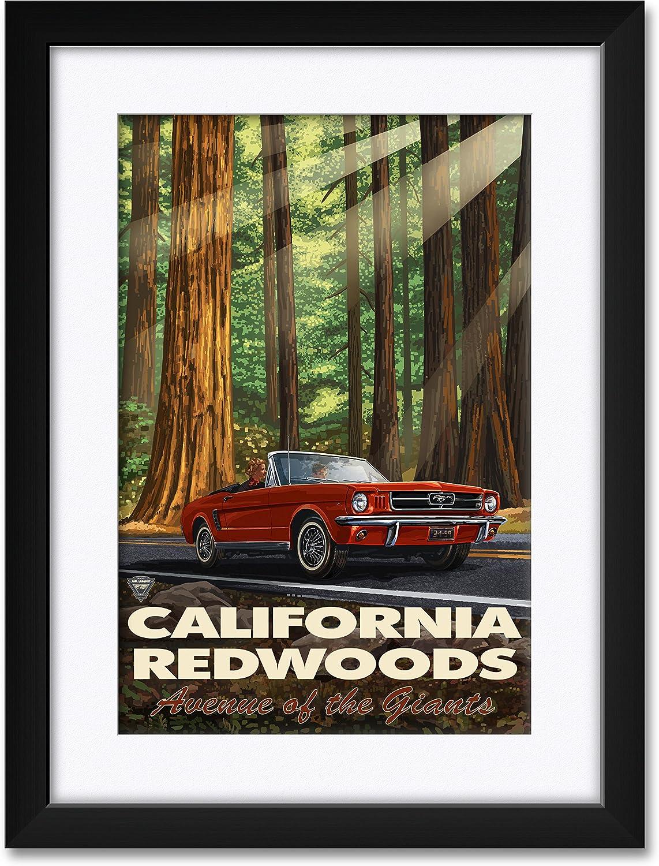 California Redwood Highway Mustang Japan Maker New Matte Framed Opening large release sale Professionally