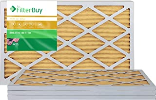 FilterBuy 12x24x1 MERV 11 Pleated AC Furnace Air Filter, (Pack of 4 Filters), 12x24x1 – Gold