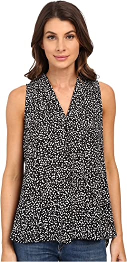 Sleeveless Speckle Pop V Blouse w/ Front Pleat