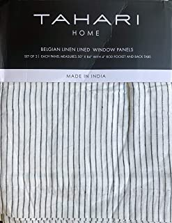 Tahari Home Window Curtains Thin Black Stripes on White Belgian Linen Panels Drapery, 50 Inches by 84 Inches