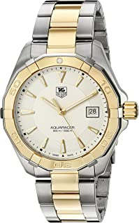 TAG Heuer Men's 'Aquaracracer' Swiss Quartz Gold and Stainless Steel Dress Watch, Color:Two Tone (Model: WAY1120.BB0930)