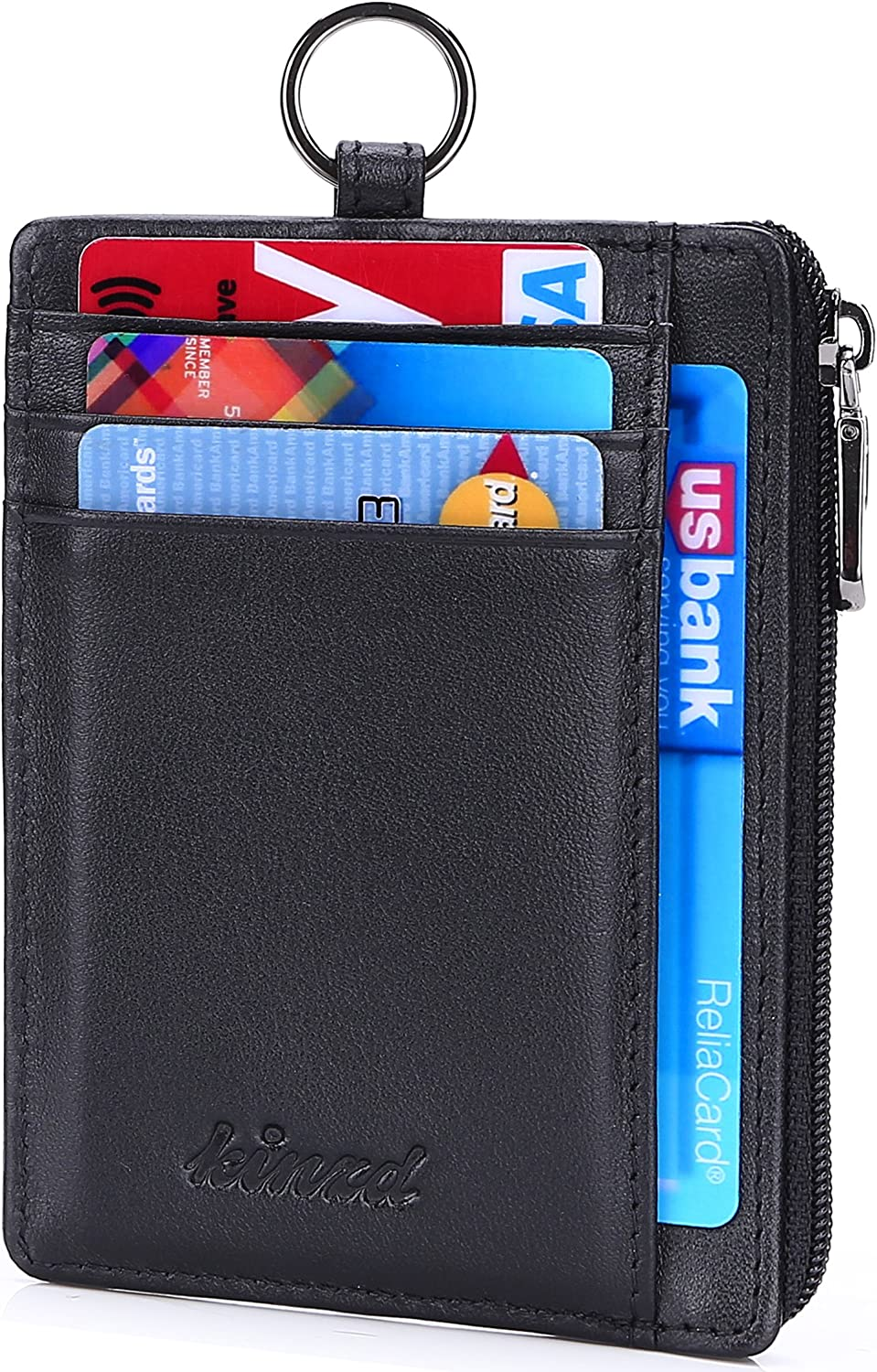 Kinzd Slim Minimalist Zipper Credit Card Holder Leather Front Pocket Wallet with Keychain Ring Lanyard Strap