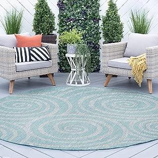 Tayse Varya Seafoam Outdoor 8 Foot Round Area Rug for Living, Bedroom, or Dining Room - Geometric
