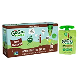GoGo squeeZ Applesauce on the Go, Apple Cinnamon, 3.2 Ounce (12 Pouches), Gluten Free, Vegan Friendl