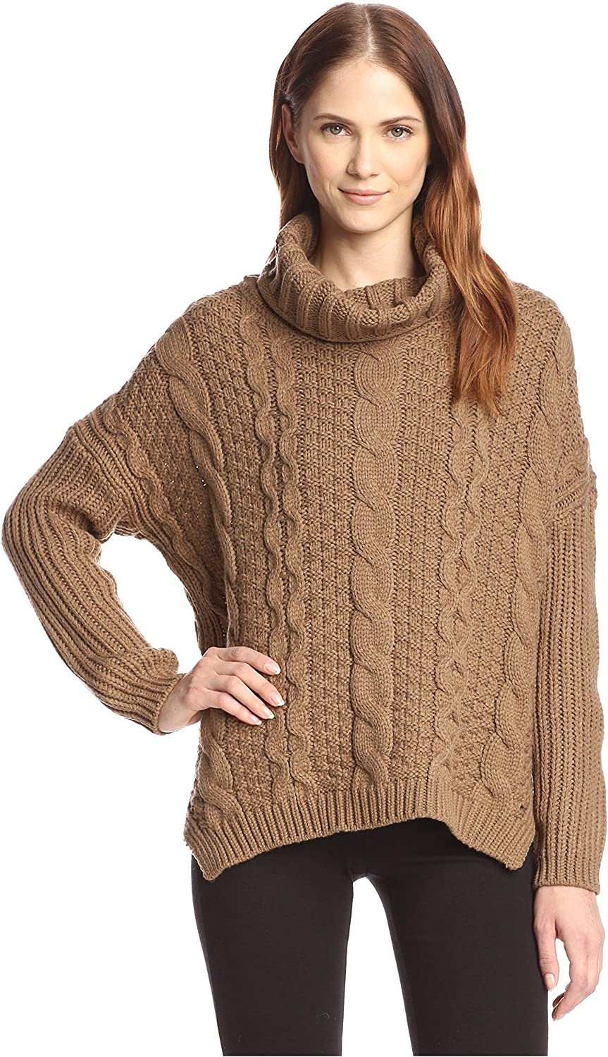 Allison Collection Women's Cable Knit Cowl Neck Sweater