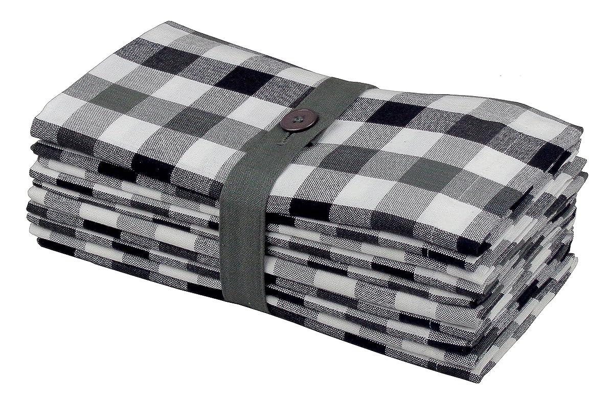 Cotton Craft 12 Pack Gingham Checks Oversized Dinner Napkins - Black Grey - Size 20