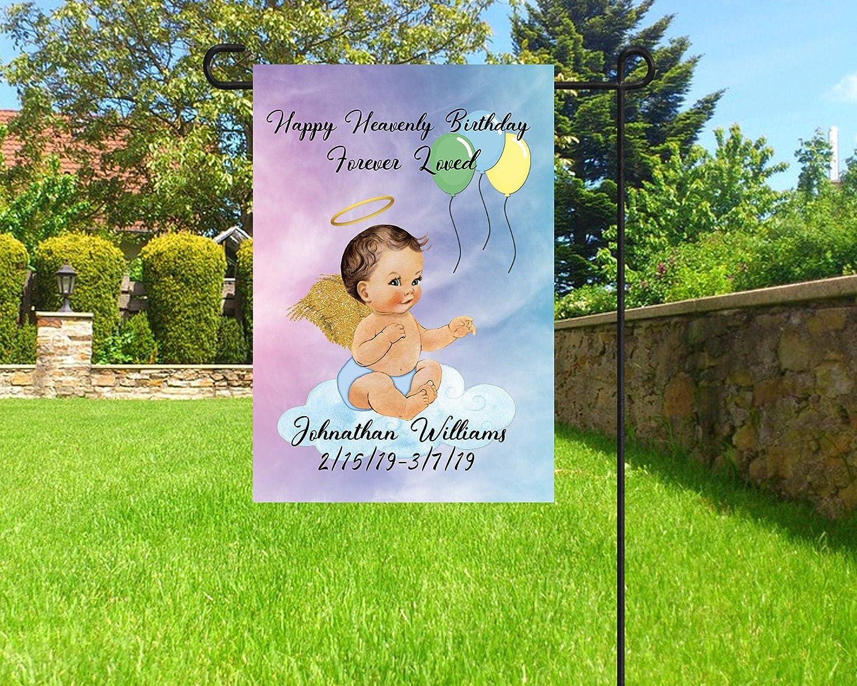 NicePodLLC Personalized Garden Flag-Birthday in Heaven Flag, Happy Heavenly Birthday Flag, Child Loss Flag, Cemetery Decoration,-Perfect