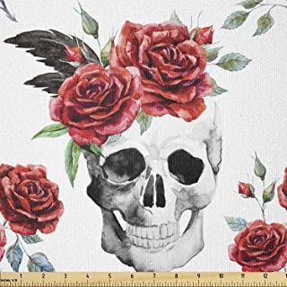 Ambesonne Rose Fabric by The Yard, Watercolor Art Style Skull with Red Roses and Buds Gothic Halloween Pattern, Stretch Kn...