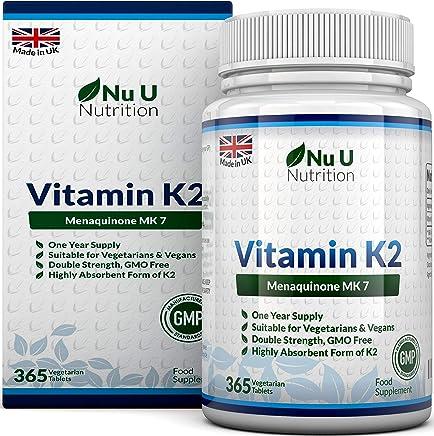 Vitamina K2 MK 7   365 Compresse Vegetariane e Vegane   Scorta Per 1 Anno di Vitamina K2 Menachinone MK7 Nu U Nutrition