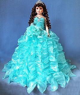 """Jmisa 24"""" Umbrella Porcelain Dolls Quince Anos Aqua"""