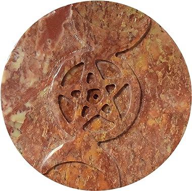 "Elite DECORIO Soapstone Pentagram Wicca Pagan Altar Pentacle Altar Tile 4"" Dia 4 Inch"