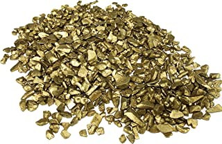 CYS EXCEL Glass Vase Fillers, Glass Gravel, Crushed Stone, Stone Gem for Centerpieces, (Glass Gravel Gold)-Diameter 0.3 inch, Approx 5000 Pieces, 2LBS