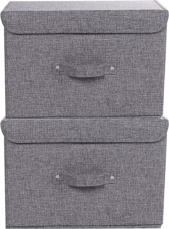 ACECHA 2 Pack Cotton Linen Storage Boxes Foldable Storage Organizer Universal Household Storage Basket