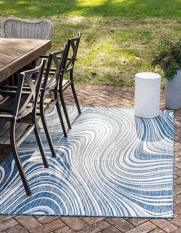 Unique Loom 大幅値下げランキング Outdoor Modern Blue Collection 人気ブランド多数対象 Navy Abstract
