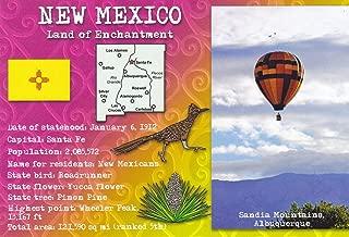 STATES02NMEX NEW MEXICO - Land of Enchantment {{ Sandia Mountains Albuquerque }} Statehood: Jan 6, 1912; Capital: Santa Fe; - NEW MEXICO POSTCARD . .. from HibiscusExpress