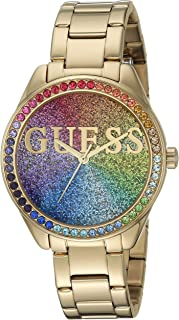 a9ad6fbb4 GUESS Women's Japanese Quartz Watch with Stainless Steel Strap, Gold, 16.1  (Model: