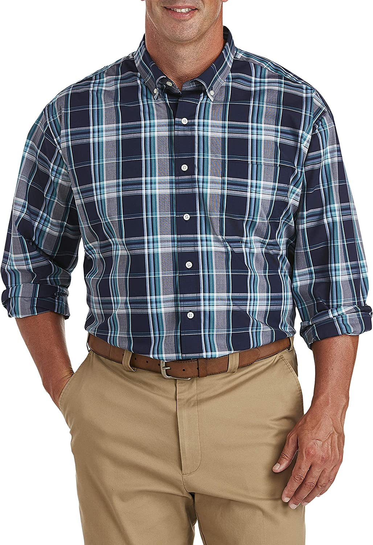 Oak Hill by DXL Big and Tall Large Plaid Sport Shirt, Peacoat Blue