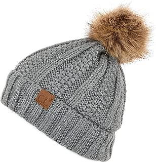 Exclusives Fuzzy Lined Knit Fur Pom Beanie Hat (YJ-820)