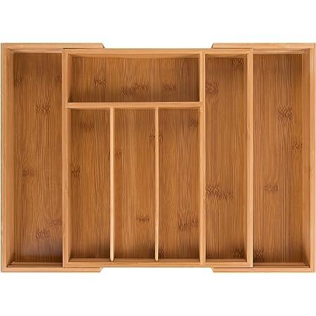 Blumtal - Range Couverts - Range Tiroir Bambou Extensible - Jusqu'à 7 Compartiments - (29x33x5cm) / (45,5x33x5cm)