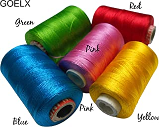 Goelx Silk Thread Shiny and Soft thread for jewelry making-tassel making- embroidery. 5 Popular Jewelry Making -embroidery Colors Included.