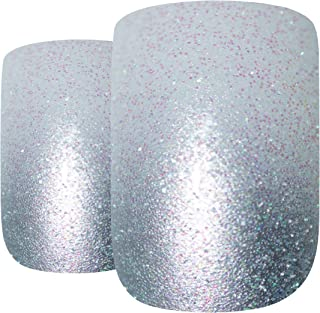 Bling Art False Nails French Fake Gel Ombre Silver Squoval Acrylic Medium Tips