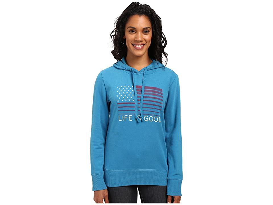 Life is Good Flag Stripe Go-To Pullover Hoodie (Denim Blue) Women