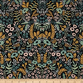 Cotton + Steel Rifle Paper Co. Menagerie Metallic Canvas Tapestry Fabric, Midnight