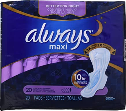 Always Extra Heavy Overnight Maxi Pads with Flexi-Wings - 20 Count (2 Pack